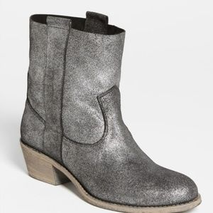 Charles David Metallic Silver Groove Boot Bootie